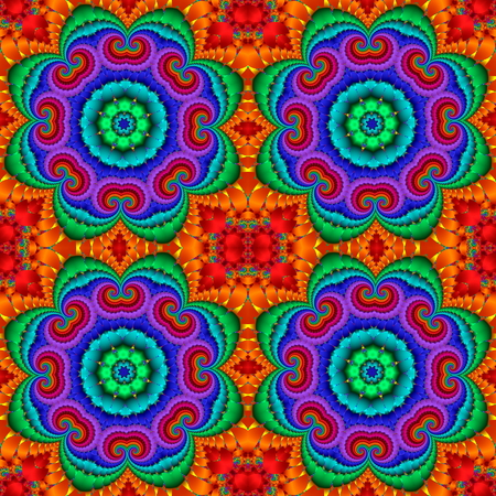 Kolorowe streszczenie szwu z kwiatowym ornamentem okręgu. Można go używać do zaproszeń, okładek notebooków, etui na telefony komórkowe, karty pocztowe, karty, ceramika, dywany i tak dalej. Grafiki dla kreatywnego projektowania.