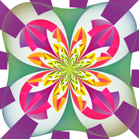 bedspread: Multicolored symmetrical pattern with geometrical ornament. Artwork for creative design, art and entertainment.