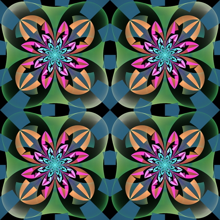 tapis: Multicolored symmetrical pattern with geometrical ornament. Artwork for creative design, art and entertainment.