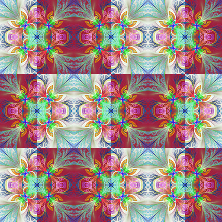 window case: Two-tone seamless flower pattern in stained-glass window style. You can use it for invitations, notebook covers, phone case, postcards, cards, wallpapers and so on. Artwork for creative design, art and entertainment. Stock Photo