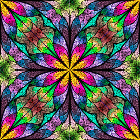 Multicolored flower pattern in stained-glass window style. You can use it for invitations, notebook covers, phone cases, postcards, cards, wallpapers and so on. Artwork for creative design. Imagens - 59971250