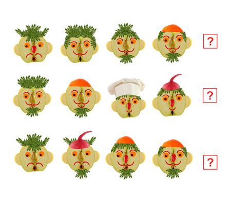 niño preescolar: Caras de dibujos animados de verduras y frutas, como una ilustración de la educación matemática para los niños en edad preescolar.