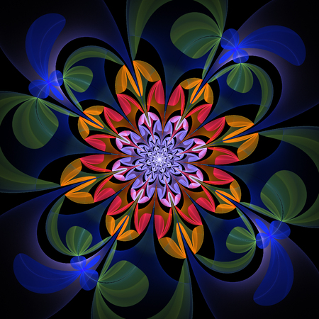 multicolored: Fabulous multicolored flower pattern. You can use it for invitations, notebook covers, phone case, postcards, cards, wallpapers and so on. Artwork for creative design, art and entertainment. Stock Photo