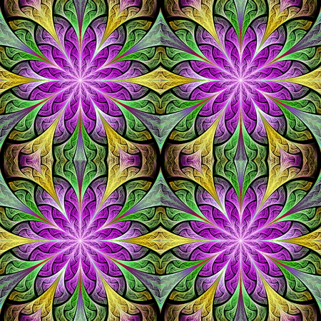 bedspread: Multicolored seamless flower pattern in stained-glass window style. You can use it for invitations, notebook covers, phone cases, postcards, cards, wallpapers and so on. Artwork for creative design.