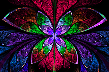 Multicolored symmetrical fractal pattern as flower or butterfly in stained-glass window style. On black. Computer generated graphics. Stock Photo