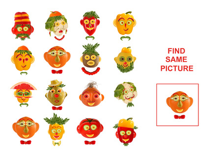 identical: Cartoon  Illustration of Finding the Same Picture.  Educational Game for Preschool Children.