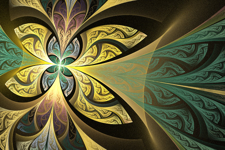 bedspread: Fractal flower or butterfly background in stained-glass window style. You can use it for invitations, notebook covers, phone cases, postcards, cards, wallpapers and so on. Artwork for creative design.