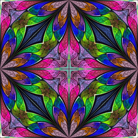 bedspread: Multicolored floral pattern in stained-glass window style. You can use it for invitations, notebook covers, phone cases, postcards, cards, wallpapers and so on. Artwork for creative design.