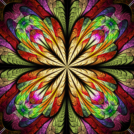 bedspread: Multicolored flower pattern in stained-glass window style. You can use it for invitations, notebook covers, phone cases, postcards, cards, wallpapers and so on. Artwork for creative design.