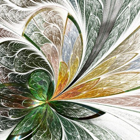 asymmetrical: Asymmetrical fractal flower in stained-glass window style. You can use it for invitations, notebook covers, phone cases, postcards, cards, wallpapers and so on. Artwork for creative design.