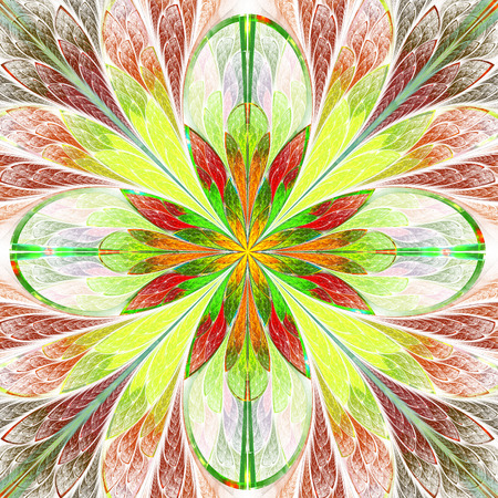 tapis: Multicolored symmetrical fractal flower in stained-glass window style. You can use it for invitations, notebook covers, phone cases, postcards, cards, wallpapers and so on. Artwork for creative design.