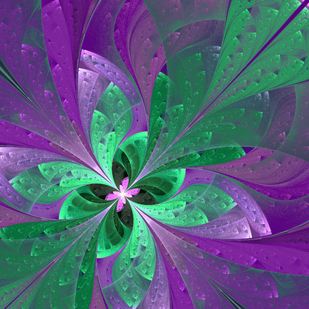 Beautiful diagonal fractal flower or  butterfly in stained-glass window style. Element of decor. You can use it for invitations, notebook covers, phone case, postcards, cards, wallpapers and so on. Stock Photo