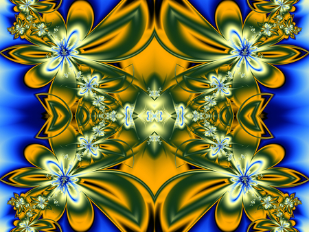 generate: Flower pattern in fractal design. Green, yellow and blue. Computer generated graphics.