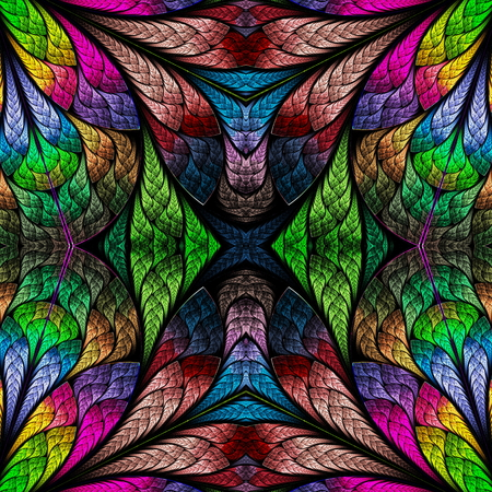 tapis: Multicolored floral pattern in stained-glass window style. You can use it for invitations, notebook covers, phone cases, postcards, cards, wallpapers and so on. Artwork for creative design.