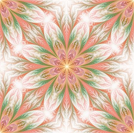 bedspread: Flower pattern in fractal design. Artwork for creative design, art and entertainment. Stock Photo