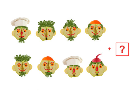 Cartoon faces of vegetables and fruits, as an illustration of mathematical education for children of preschool age.