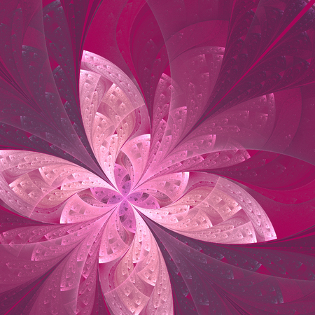 fractal pink: Beautiful diagonal fractal flower or  butterfly in stained-glass window style. Pink and purple. Artwork for creative design, art and entertainment.