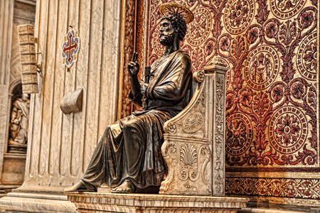Vatican, Rome, Italy. Bronze statue of Saint Peter holding the keys of heaven in the St. Peters Basilica. Attributed to Arnolfo di Cambio. Editorial