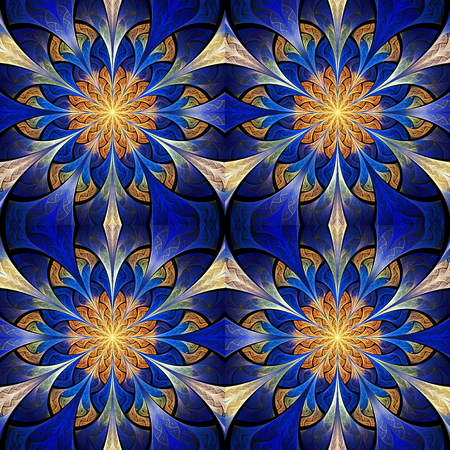 tapis: Beautiful seamless flower pattern in stained-glass window style. You can use it for invitations, notebook covers, phone cases, postcards, cards, wallpapers and so on. Artwork for creative design.