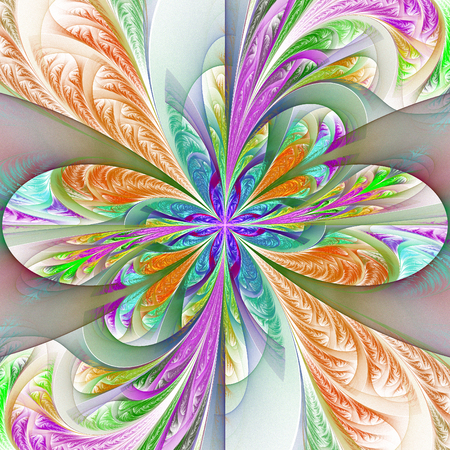 tapis: Beautiful multicolored fractal flower. Collection - frosty pattern. You can use it for invitations, notebook covers, phone case, postcards, cards, wallpapers and so on. Artwork for creative design, art.