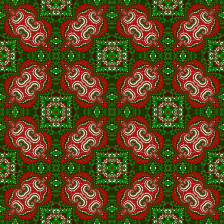 Christmas seamless pattern. Green, red and white colors. You can use it for invitations, gift packaging, wrapping paper, holiday decor, postcards.