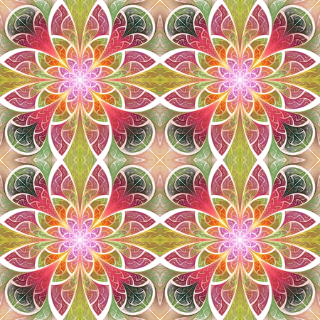 Multicolored seamless flower pattern in stained-glass window style. You can use it for invitations, notebook covers, phone cases, postcards, cards, wallpapers and so on. Artwork for creative design.