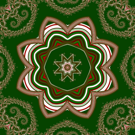 Christmas background with circle ornament. Green, red and white colors. You can use it for invitations, gift packaging, wrapping paper, holiday decor, postcards.