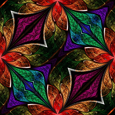 Multicolored fractal pattern in stained-glass window style. You can use it for invitations, notebook covers, phone case, postcards, cards, wallpapers and so on. Artwork for creative design, art and entertainment.