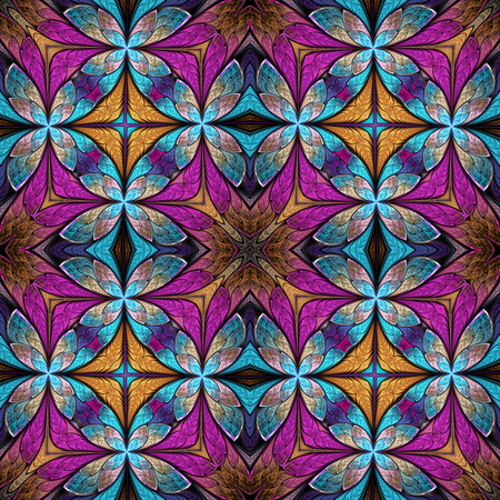 generating: Beautiful seamless flower pattern in stained-glass window style. You can use it for invitations, notebook covers, phone cases, postcards, cards, wallpapers and so on.