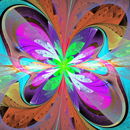 asymmetrical: Multicolored asymmetrical fractal flower in stained glass window style. Element of design. You can use it for invitations, notebook covers, phone case, postcards, cards and so on. Artwork for creative design. Stock Photo