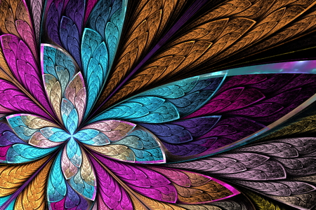 Beautiful fractal flower or butterfly in stained glass window style. You can use it for invitations, notebook covers, phone case, postcards, cards, wallpapers and so on. Stock fotó - 71242965