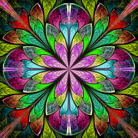 Multicolored symmetrical fractal flower in stained-glass window style. You can use it for invitations, notebook covers, phone cases, postcards, cards, wallpapers and so on. Artwork for creative design.