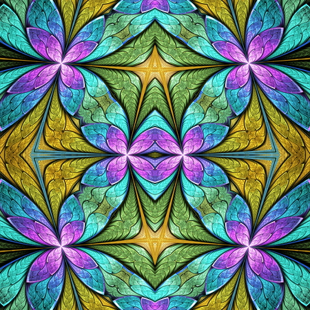 Beautiful seamless flower pattern in stained-glass window style. You can use it for invitations, notebook covers, phone cases, postcards, cards, wallpapers and so on.