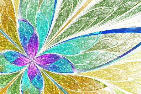 Beautiful fractal flower or butterfly in stained glass window style. You can use it for invitations, notebook covers, phone case, postcards, cards, wallpapers and so on.  Banco de Imagens
