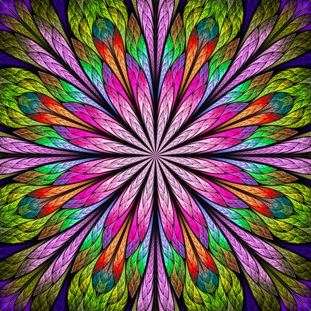 Multicolored fractal flower in stained glass window style. You can use it for invitations, notebook covers, phone case, postcards, cards, wallpapers and so on.