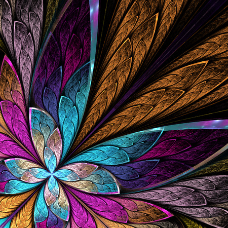 Beautiful fractal flower or butterfly in stained glass window style. You can use it for invitations, notebook covers, phone case, postcards, cards, wallpapers and so on.  Stock Photo