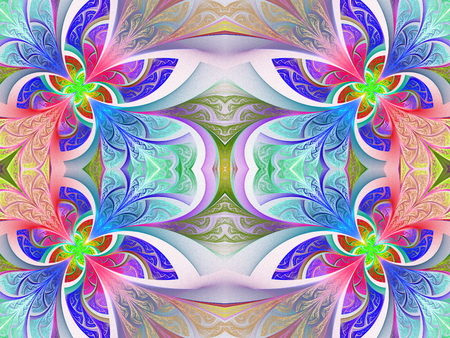 bedspread: Multicolored flower pattern in stained-glass window style. You can use it for invitations, notebook covers, phone case, postcards, cards, wallpapers and so on. Artwork for creative design, art and entertainment. Stock Photo