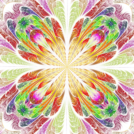 tapis: Multicolored flower pattern in stained-glass window style. You can use it for invitations, notebook covers, phone cases, postcards, cards, wallpapers and so on. Artwork for creative design.