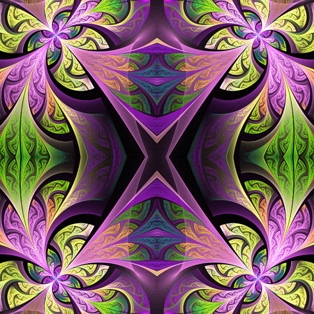 tapis: Symmetrical flower pattern in stained-glass window style. Green and purple palette. Artwork for creative design, art and entertainment.
