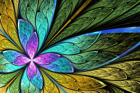 Beautiful fractal flower or butterfly in stained glass window style. You can use it for invitations, notebook covers, phone case, postcards, cards, wallpapers and so on. Stock fotó