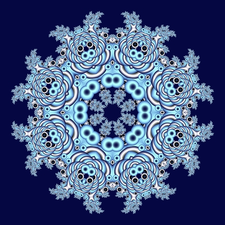 Fabulous openwork pattern in the form of snowflakes or lace napkins. Artwork for creative design, art and entertainment.