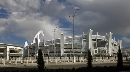 Ashgabat, Turkmenistan - April 6, 2017.  Part of the sport complex.  5 th Asian Indoor Games and martial arts, which will be held in Ashgabat (Turkmenistan) in 2017, from September 15 to 24.