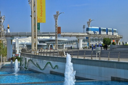 Ashgabat, Turkmenistan -  September 26.2017:  Part of the sport complex, which hosted 5 Asian Games.  Asian indoor games and martial arts, was held in Ashgabat,  Turkmenistan in 2017. From September 17 to September 27. Redakční