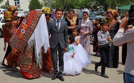 Kov-Ata, Turkmenistan - April 30, 2017: Turkmen national wedding in the village of Kov-Ata. Turkmenistan - April 30, 2017.