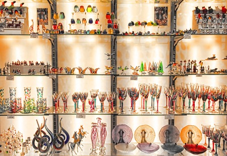 Rome, Italy - April 09, 2017:The shop with traditional souvenirs and gifts like Murano glass to tourists visiting