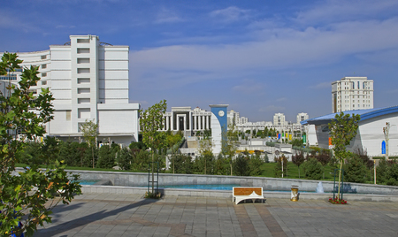 Ashgabat, Turkmenistan -  September 26.2017:  Part of the sport complex, which hosted 5 Asian Games.  Asian indoor games and martial arts, was held in Ashgabat,  Turkmenistan in 2017. From September 17 to September 27. Editorial