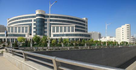 ASHGABAT, TURKMENISTAN, April 19, 2017.  Modern architecture of Ashgabat.  View on the  new building. ASHGABAT, TURKMENISTAN, April 19, 2017. Editorial