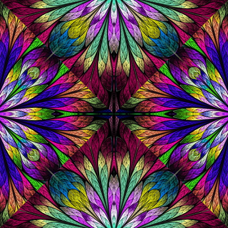 Multicolored floral pattern in stained-glass window style. You can use it for invitations, notebook covers, phone cases, postcards, cards, wallpapers and so on. Artwork for creative design.
