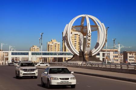 ASHGABAT, TURKMENISTAN, January 25, 2017:  Modern architecture of Ashgabat. One of the streets of Ashgabat. ASHGABAT, TURKMENISTAN, January 25, 2017.
