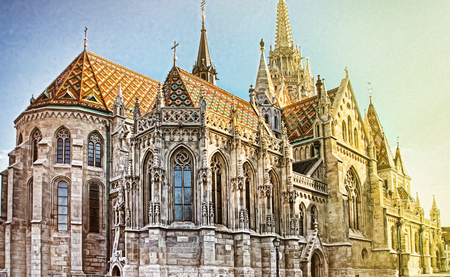 View to Matthias Church in the Castle District. Matthias Church is one of the most famous landmarks of Budapest.  Editorial